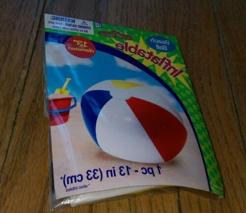 """Beach Ball Inflatable 13"""" Diameter Pool Toy Amscan Brand New"""