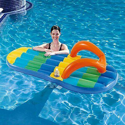 Blue Wave Beach Striped Flip 71-Inch Inflatable Pool