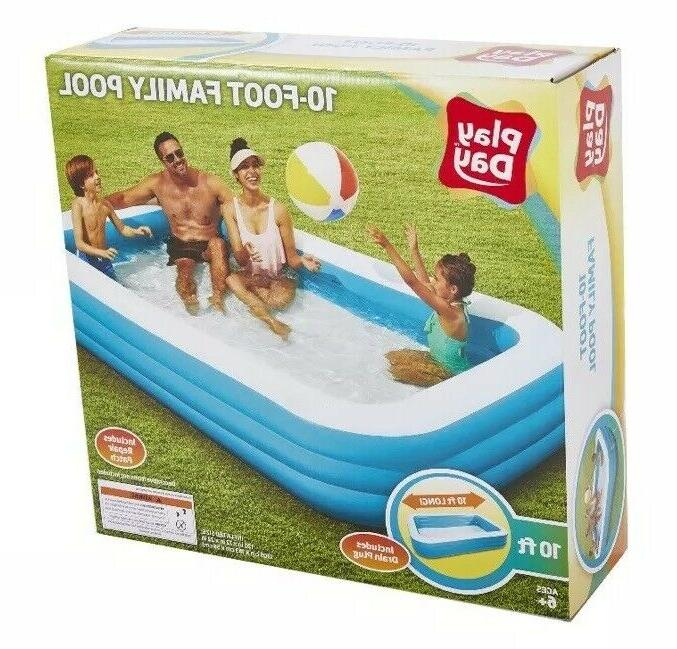 Play Day 10ft FT Foot Rectangular Family Swimming Pool *NEW IN HAND*