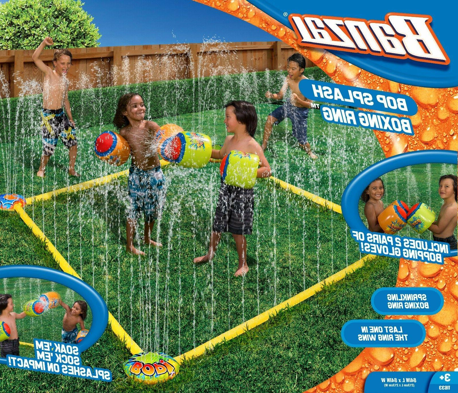 Banzai Bop Splash Water Sprinkler Boxing Ring w/ 2 Pairs Inf