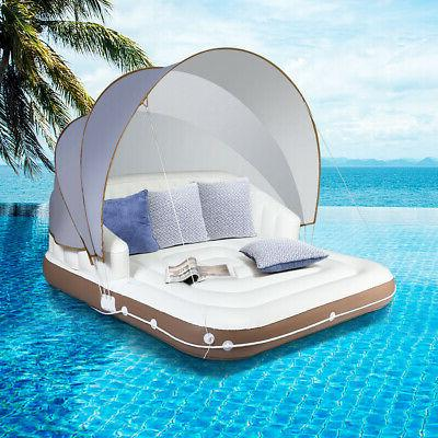 canopy island inflatable pool float lounge swimming
