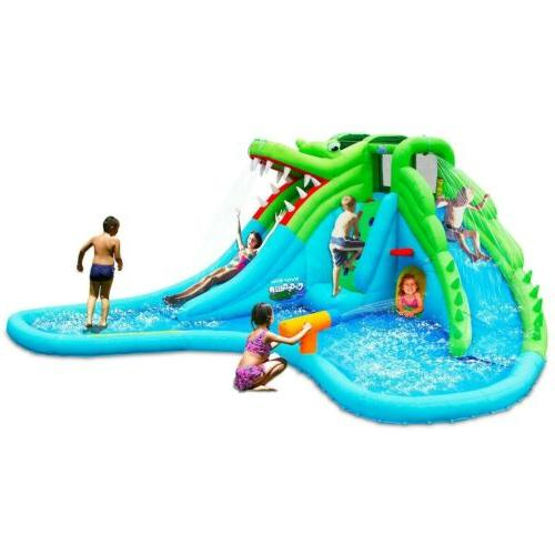 Crocodile Inflatable Slide Climbing Wall Bounce House Wading