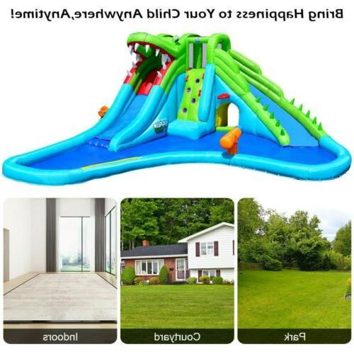Crocodile Pool Inflatable Slide House Wading