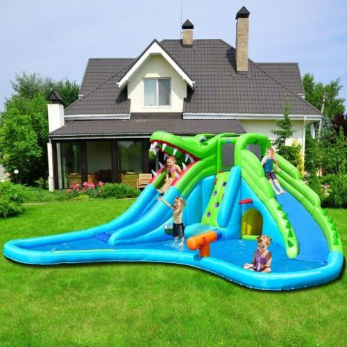 crocodile pool inflatable water slide climbing wall