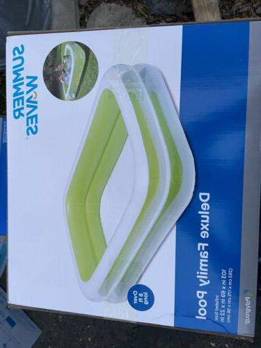 deuxe family inflatable swimming pool 103x69x22in over