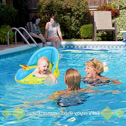 Toys with Inflatable Sunshade Swimming Floating Ring