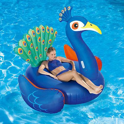 Summer Waves Giant Peacock Ride Inflatable Pool Lounger