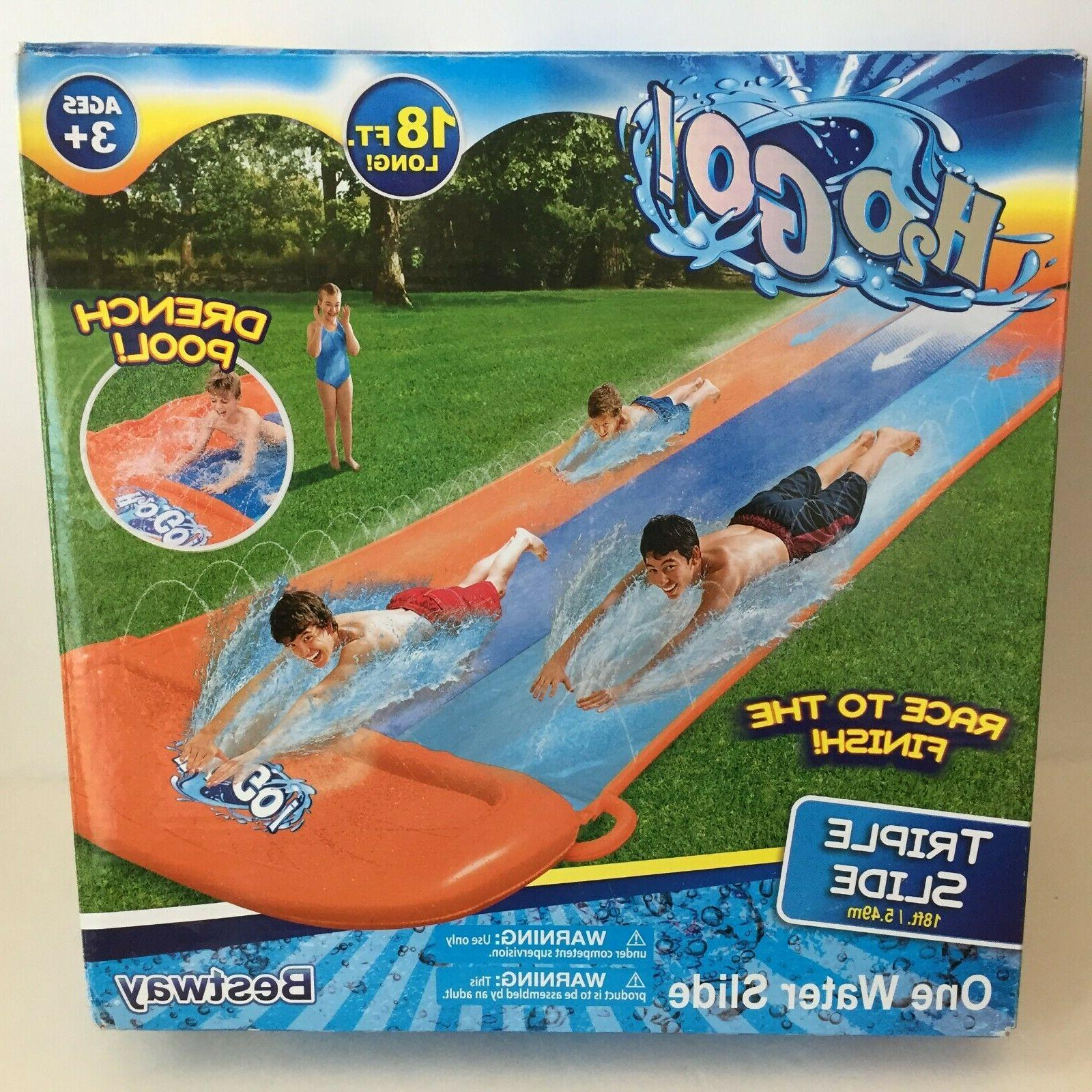 H20GO! 18' Triple Lane Inflatable Water Slip Slide Speed Dre