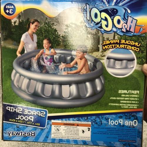 h20go inflatable spaceship kids swimming pool gray