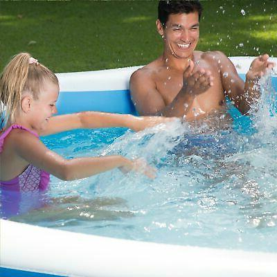 Summer 9' Octagon Family Swimming Pool, Blue White,Blue