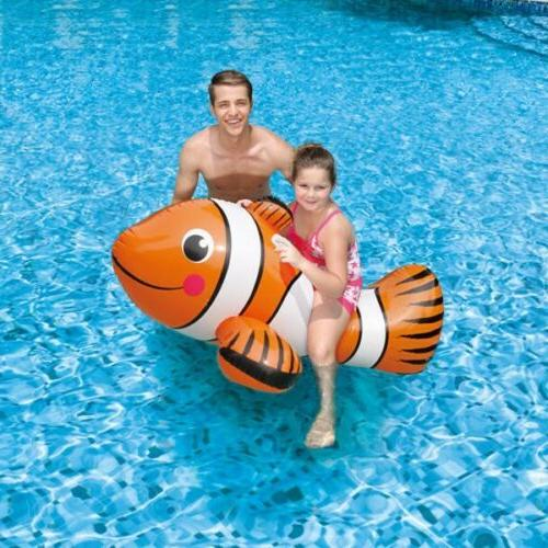 inflatable clown fish ride on pool toy