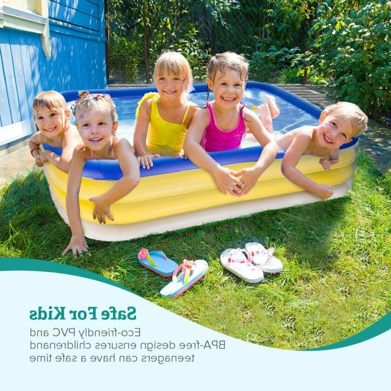 Inflatable Family Pool Swim Rectangular 3+ Kids