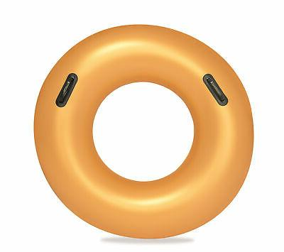 inflatable gold swim ring float swimming pool