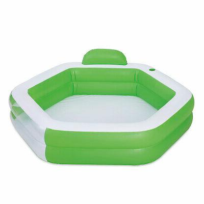inflatable hexagon family swimming pool with rest
