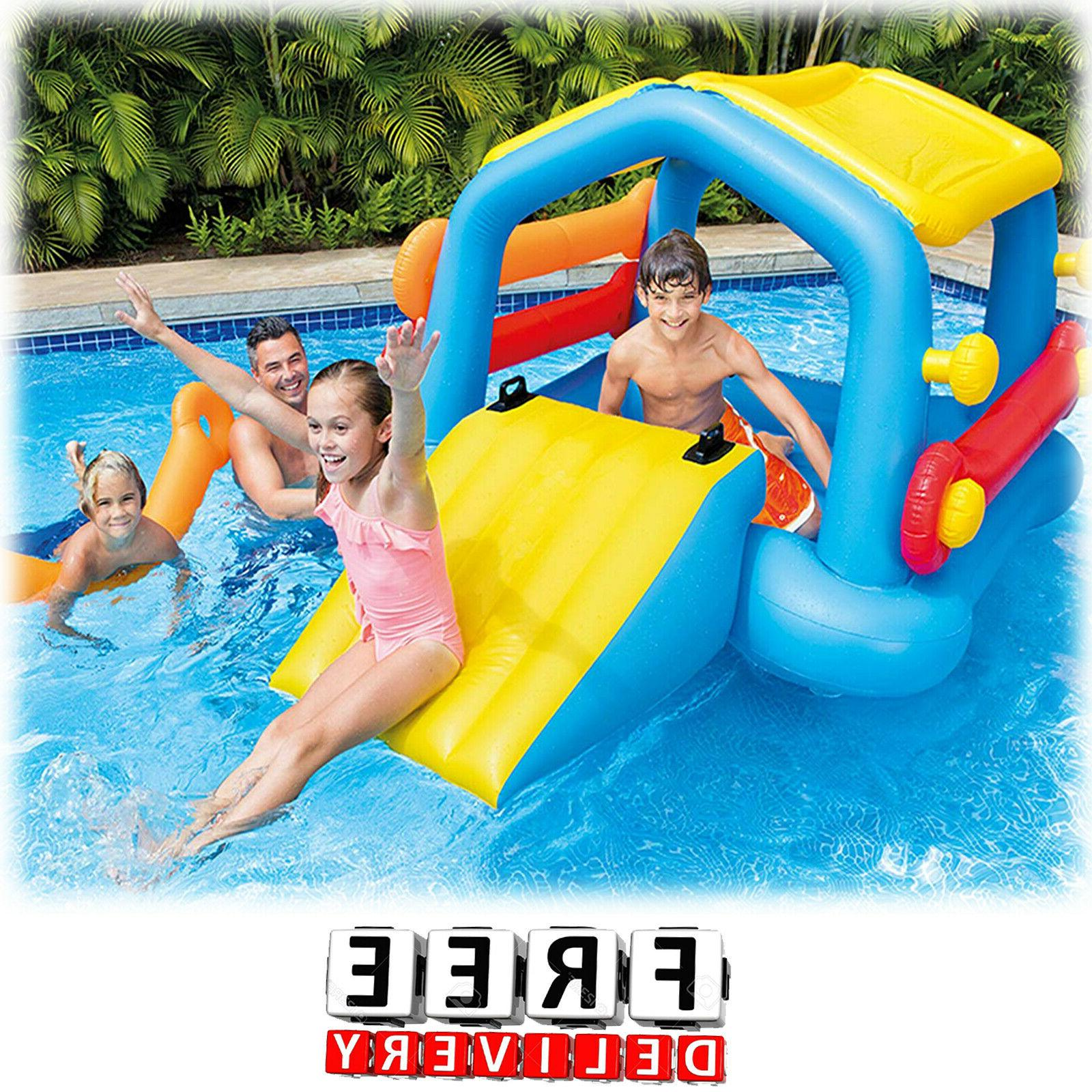 Inflatable Kids Pool Slide Cabin Island Play Center Child To