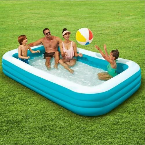Inflatable Pool 10ft Play Day Water Rectangular, Kids Fun