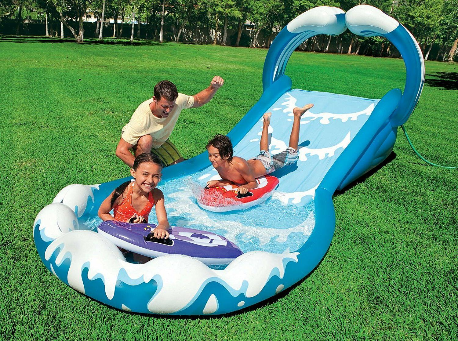 Intex Inflatable Pool Play Rainbow Ring Center Slide Pump