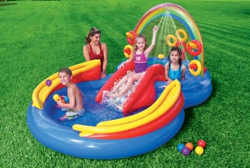Intex Inflatable Rainbow Water Play Slide And