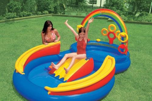 Intex Inflatable Rainbow Ring Water With Slide Games 57453EP