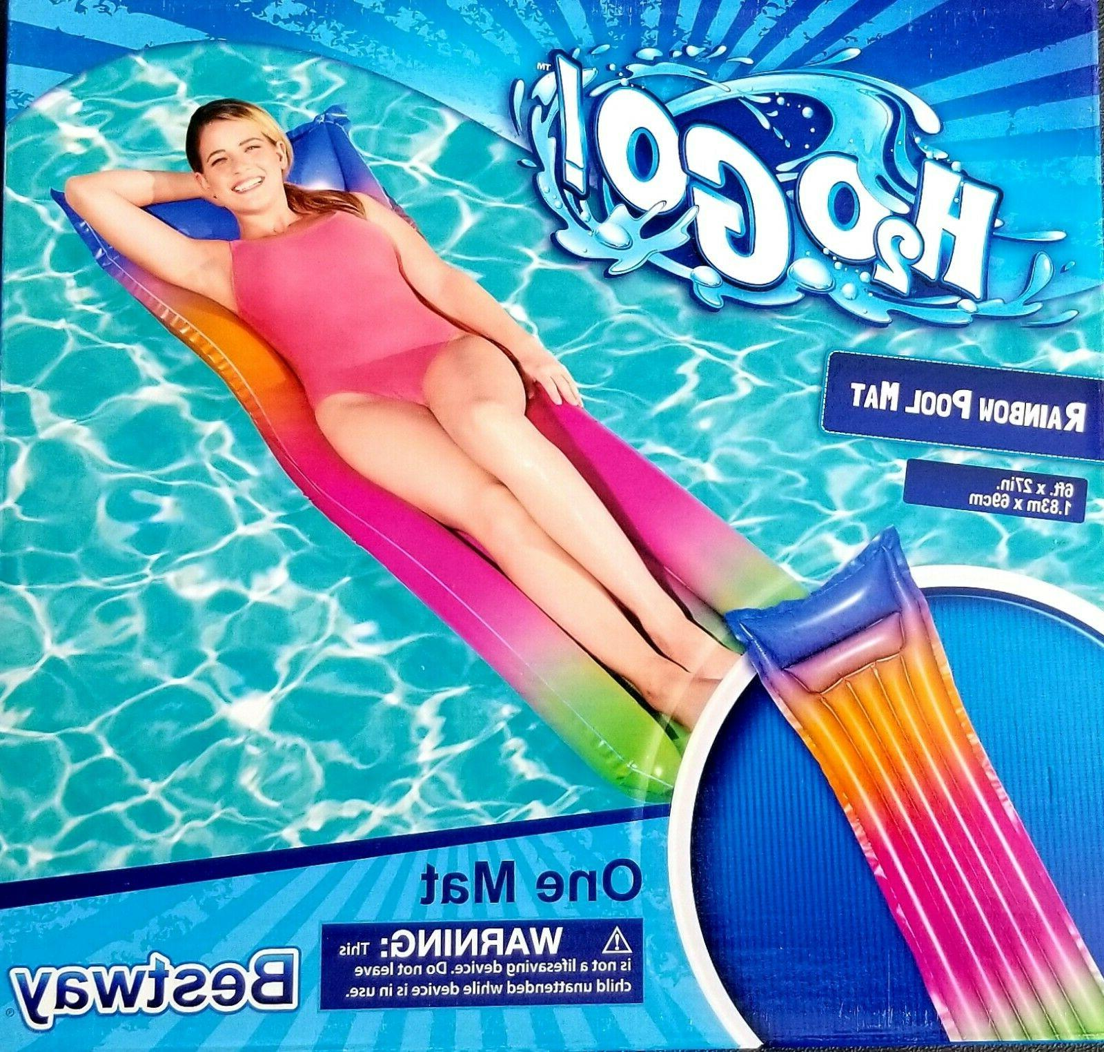 Bestway Inflatable Rainbow Floating Pool Bed Lounger NIB