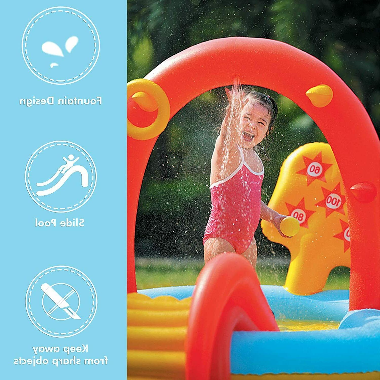 Inflatable Swimming Pool for Kids, Sliding Play Pool, Sprinkler Water Toy