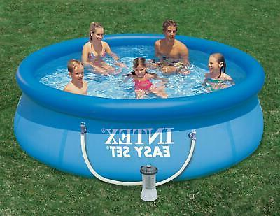 Inflatable Ring Pool with Filter Layer and Plug