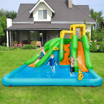 Kids Inflatable Water Bounce House Play Wall Splash Pool 2 Slides