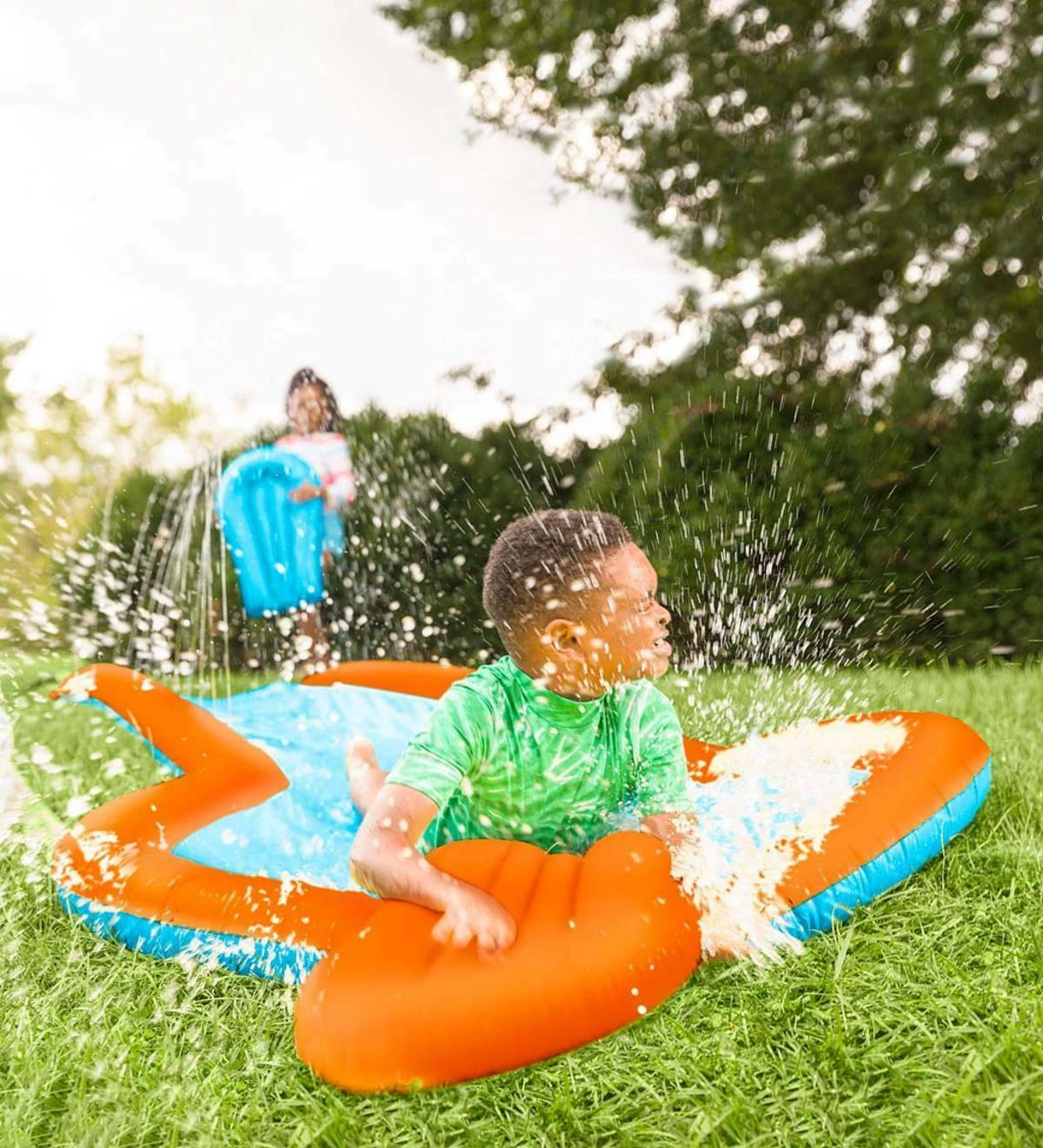 Inflatable Slide w/ Two Speed Boards Landing Pool, Lawn Fun