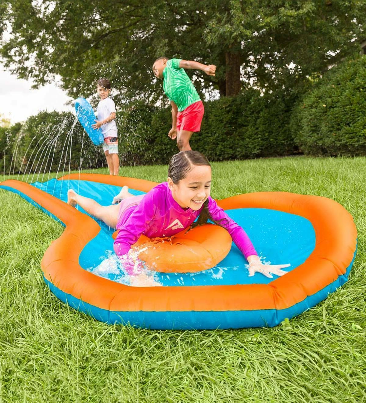 Inflatable Slide Two Speed Boards and Landing Fun