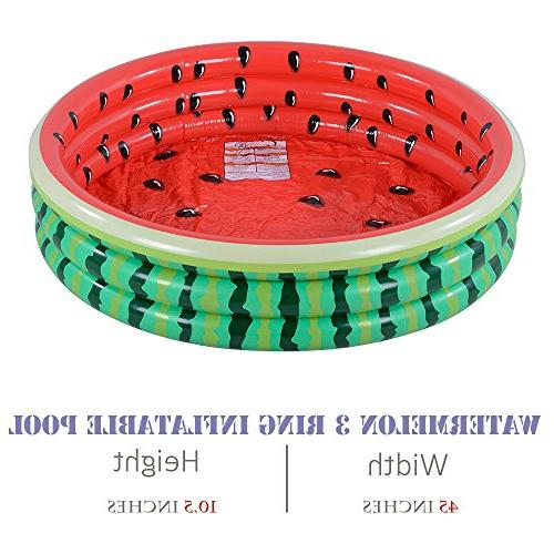 Kiddie Watermelon Ring Kids, Ideal in Summer, 45 Inches Inflatable Pool, for Ages 3+
