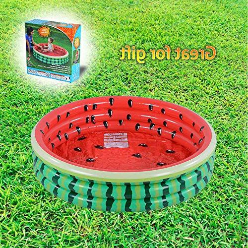 Kiddie Pool, Watermelon Ring Inflatable for Kids, Water in Summer, Inflatable Pool, for Ages 3+