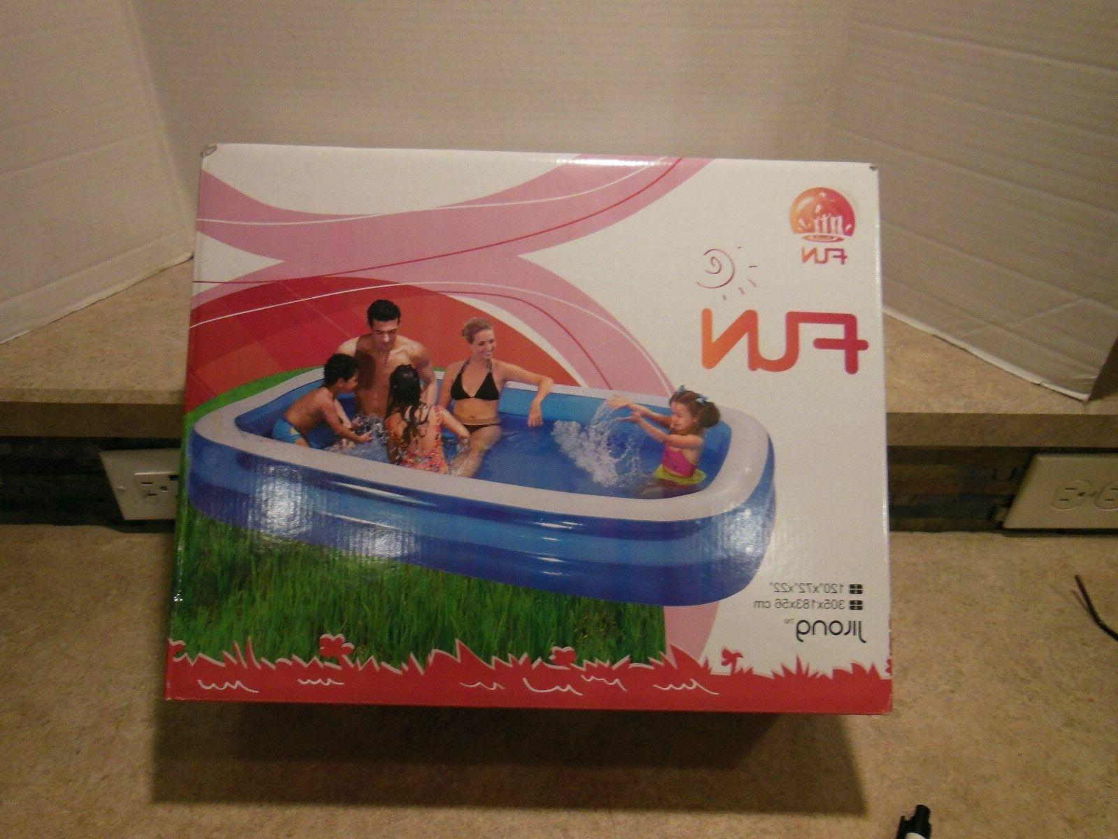 large inflatable rectangular family pool 120 x