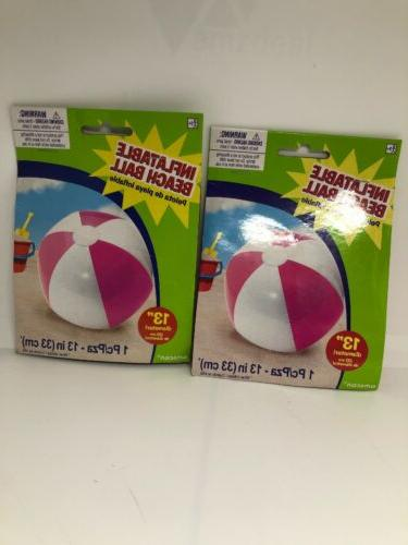 "Lot Of 2 Pink Inflatable Pool 13"" Diameter"