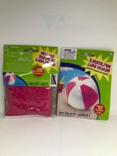 lot of 2 pink inflatable beach ball