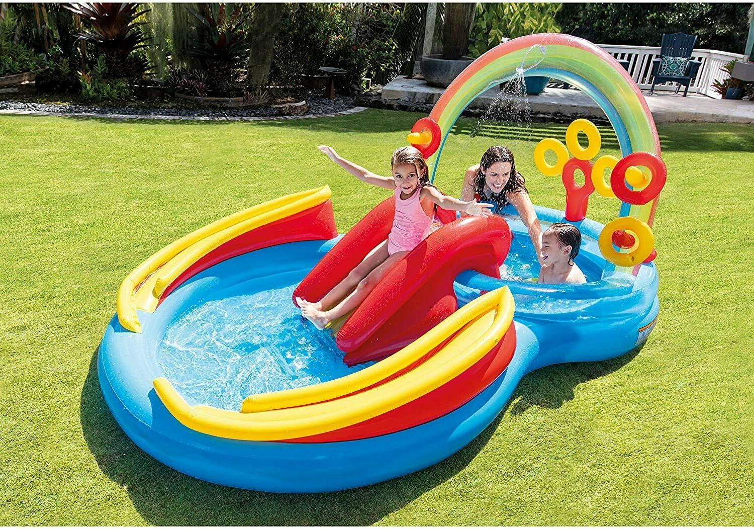 new pool rainbow ring inflatable play center