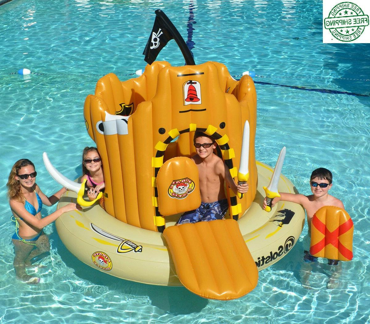 pirate island inflatable floating adventure set swimming
