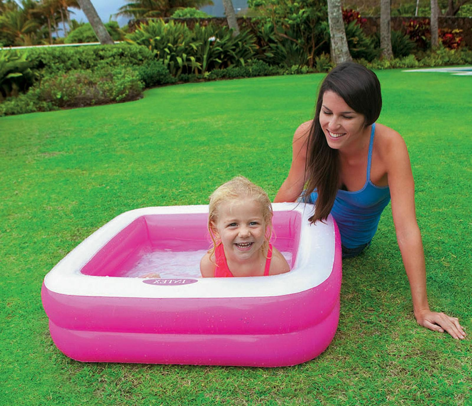 Intex Play Pool Inflatable Kiddie Padded Pink Green