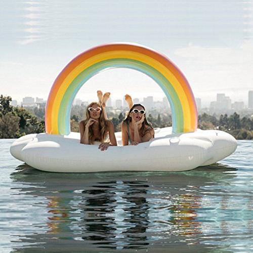 Rainbow Pool Float, Outdoor Vacation Loungers Ride-Ons Funny Inflatable For