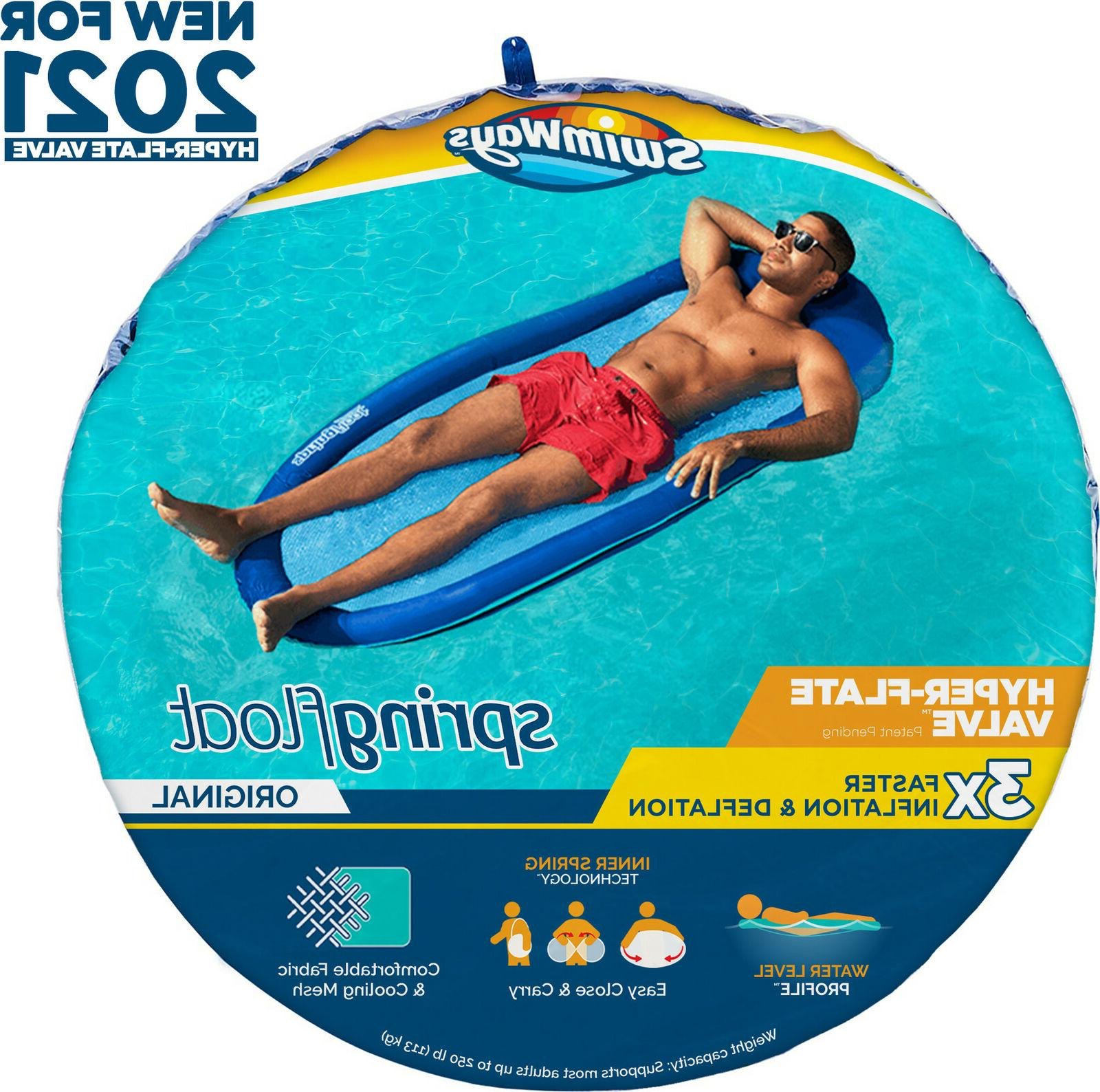 spring float inflatable pool lounger with hyper