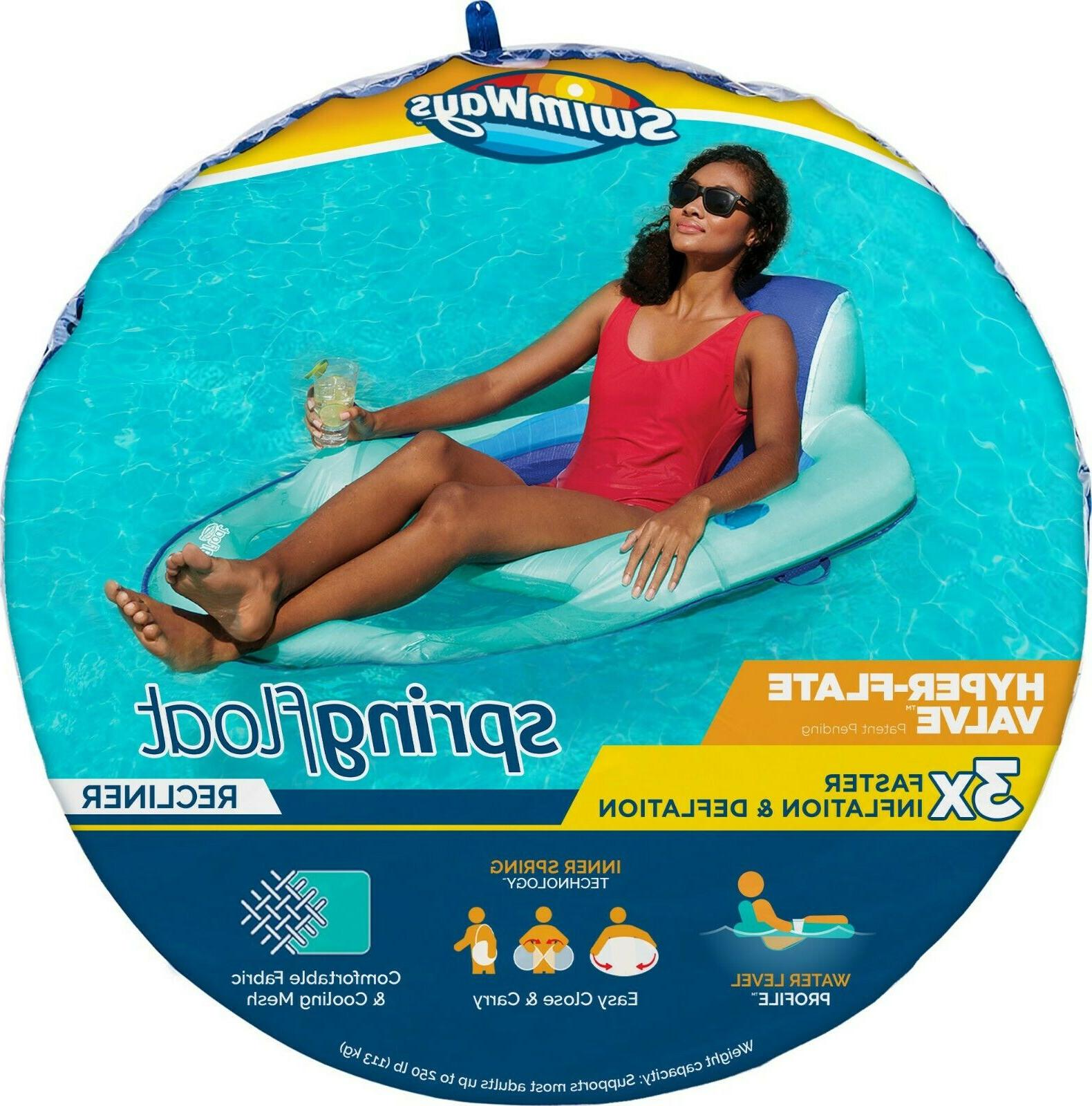 spring float recliner pool lounger with hyper