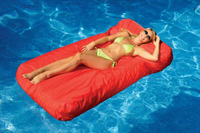 sunsoft fabric inflatable mattress and drink caddy