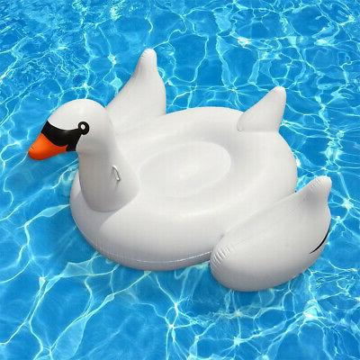 Swimline Swan Inflatable Ride On Swimming Pool Float Raft White