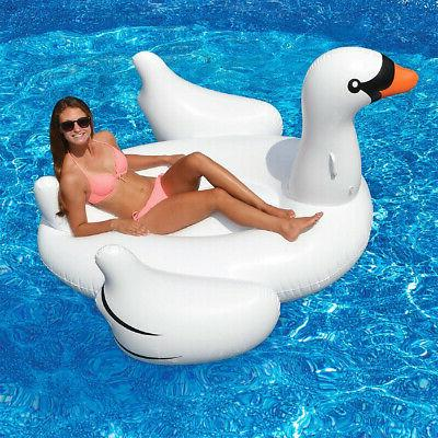swimline giant swan inflatable ride on swimming