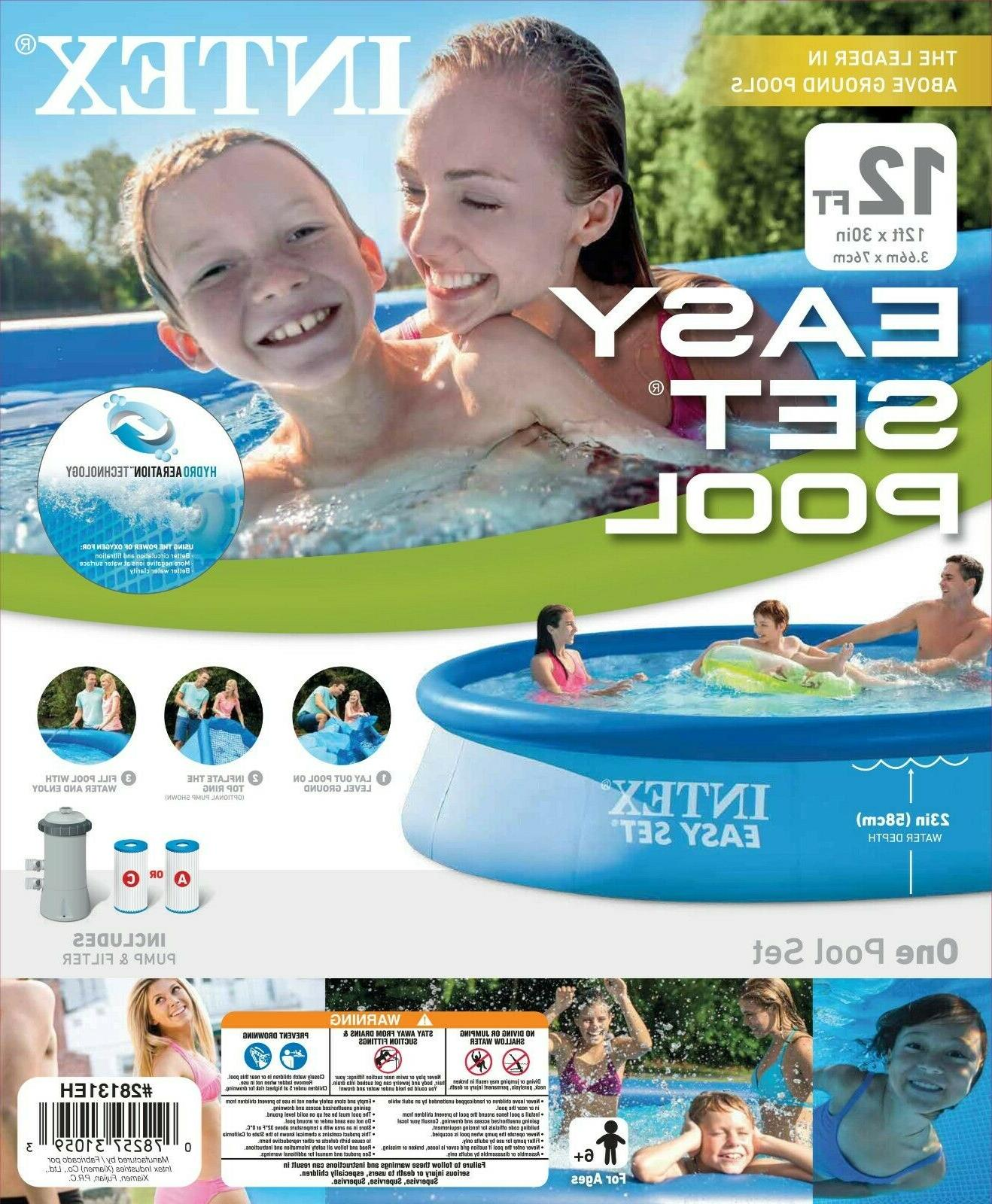 """Intex Swimming & 12' 30"""" Set Inflatable Above Ground"""