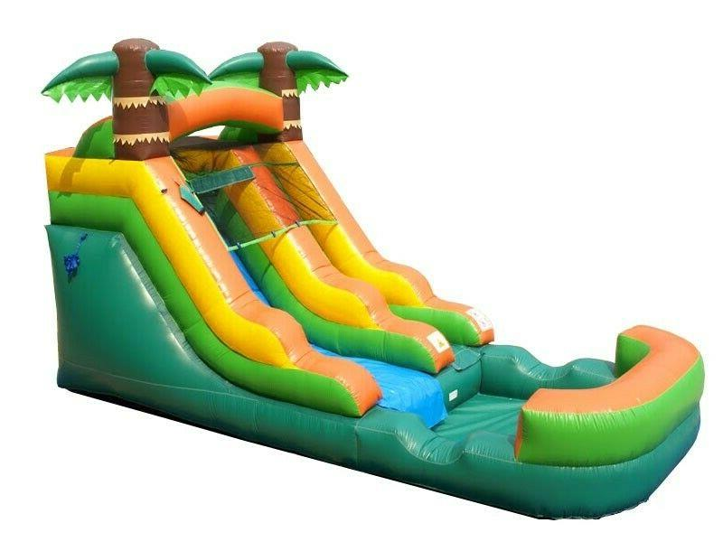 tropical wet dry inflatable slide with pool