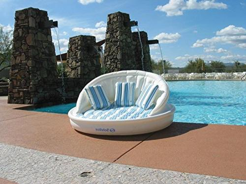white striped inflatable floating swimming