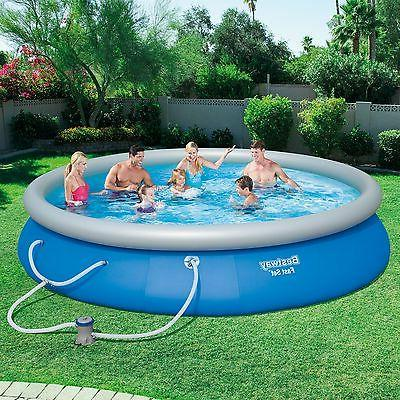 Bestway 15' x Fast Set Inflatable Above Ground Swimming Pool w/ Filter Pump