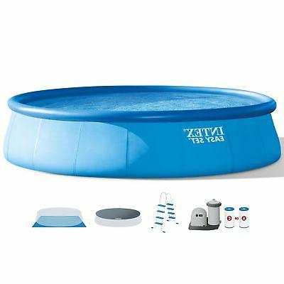 Intex 18 Foot x 48 Inch Inflatable Easy Set Round Above Grou