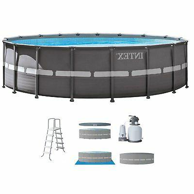 "Intex 18' x 52"" Ultra Frame Above Ground Swimming Pool Set w"