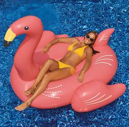 Outdoor Pool Inflatable Giant Flamingo Ride On Rafts Swimmin